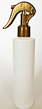 SNSET-250WCSQHDPEMGSNS-250ml White HDPE Cylindrical Bottle with Square Shoulder and 24/410 Metallic Gold Swan Neck Sprayer