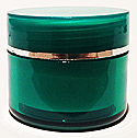 SNJAR5HGGR-5ml Hot Green Acrylic Jar with Flat Lid with Square Base and Gold Rim