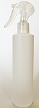 SNSET-250WCSQHDPECSNS-250ml White HDPE Cylindrical Bottle with Square Shoulder and 24/410 Clear Swan Neck Sprayer