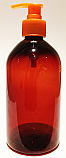 SNSET500ABBPETFROP-500ml Amber Bell Boston PET Bottle with 28/410 Orange Fine Ribbed Pump